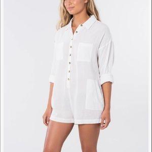 Rip curl White Linen Shirt Romper Adrift Large M3